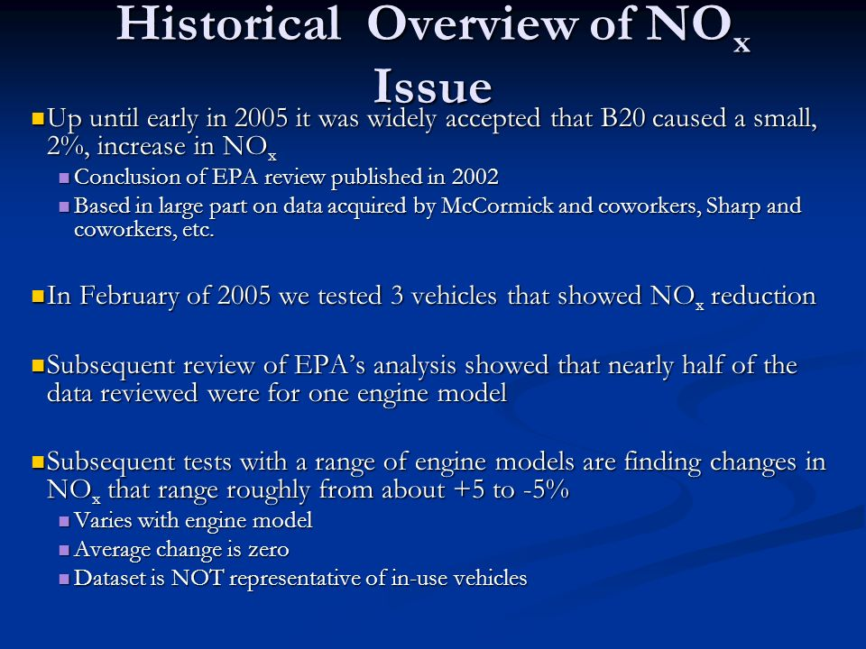 Historical Overview of NOx Issue