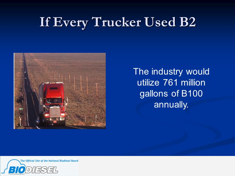 The industry would utilize 761 million gallons of B100 annually.