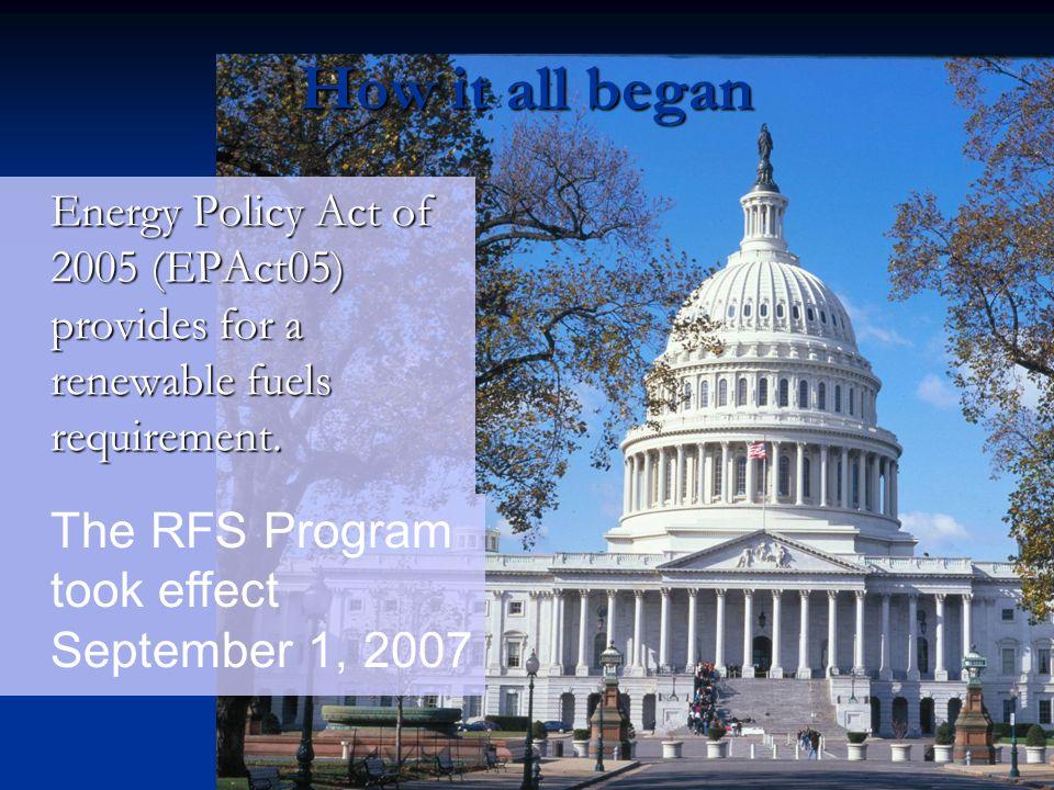 How it all began The RFS Program took effect September 1, 2007