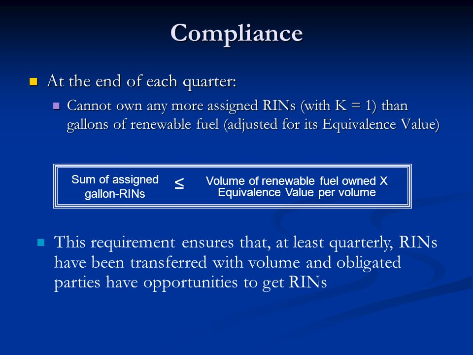 Compliance At the end of each quarter: ≤