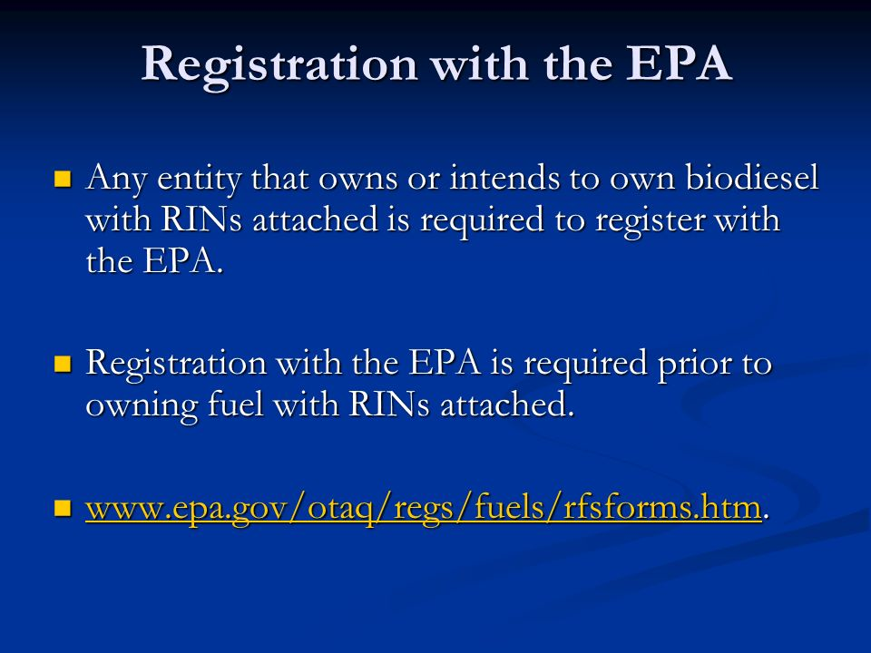 Registration with the EPA