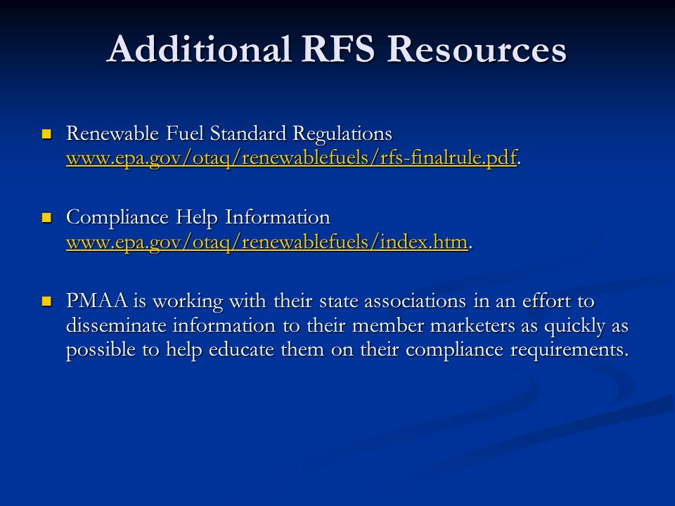 Additional RFS Resources