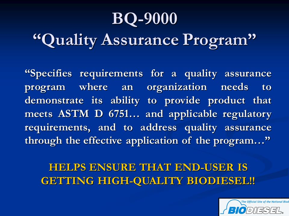 BQ-9000 Quality Assurance Program