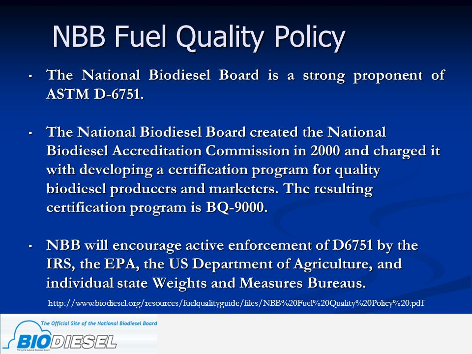 NBB Fuel Quality Policy