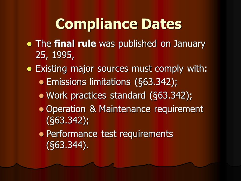 Compliance Dates The final rule was published on January 25, 1995,