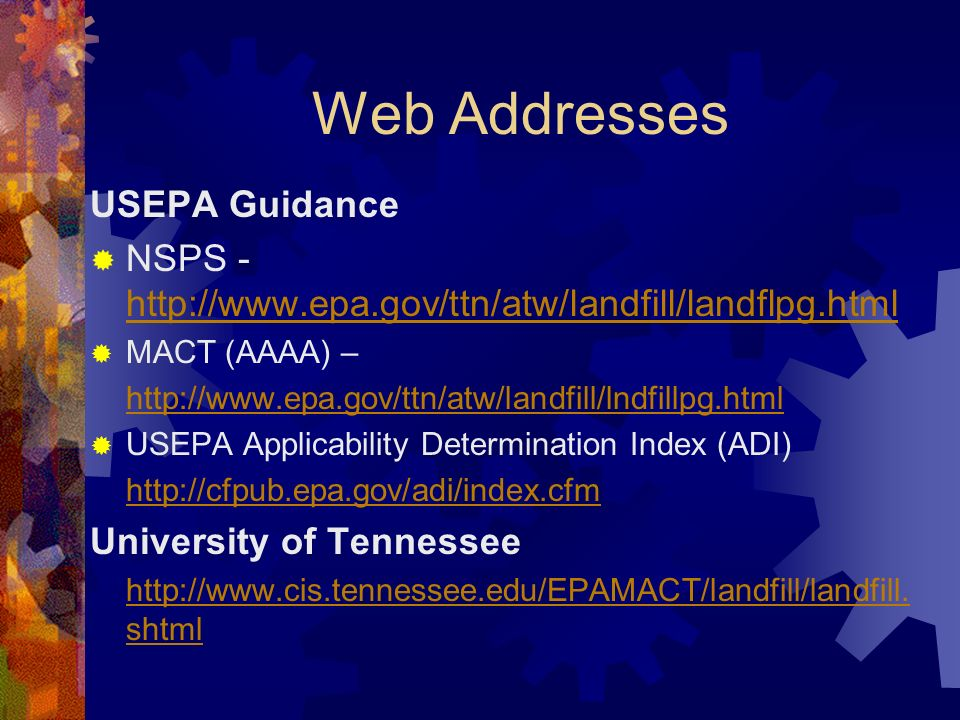 Web Addresses USEPA Guidance