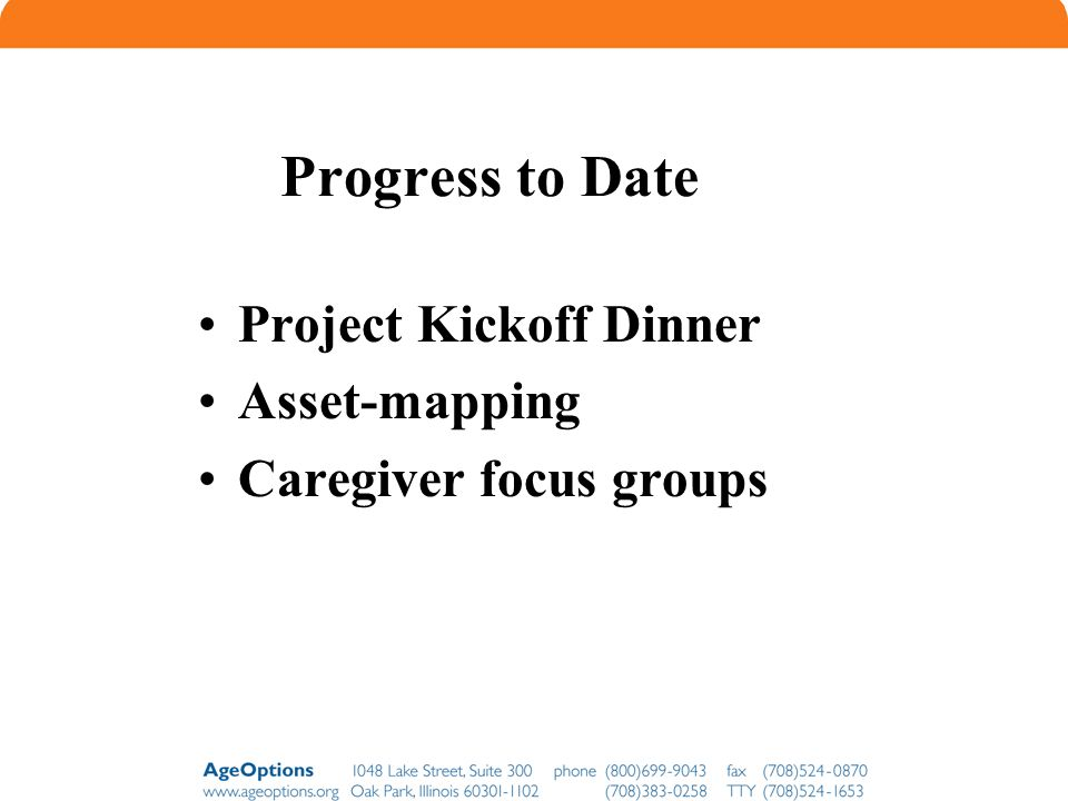 Progress to Date Project Kickoff Dinner Asset-mapping
