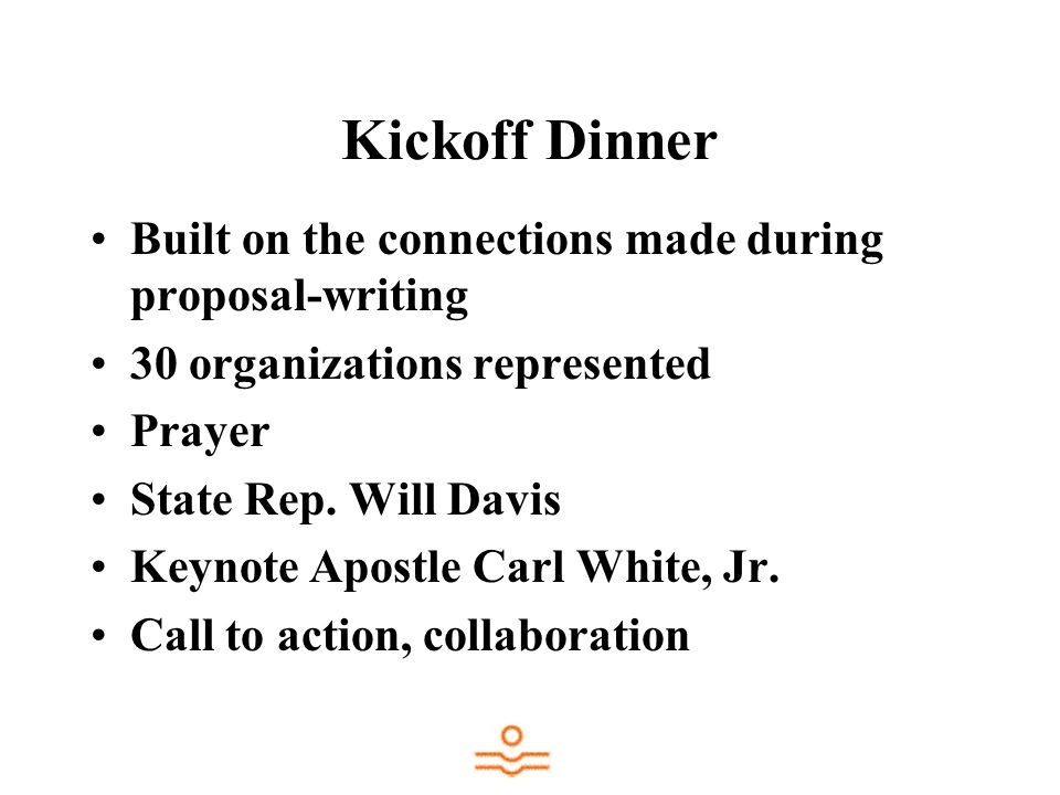 Kickoff Dinner Built on the connections made during proposal-writing