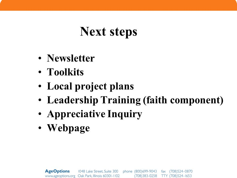 Next steps Newsletter Toolkits Local project plans