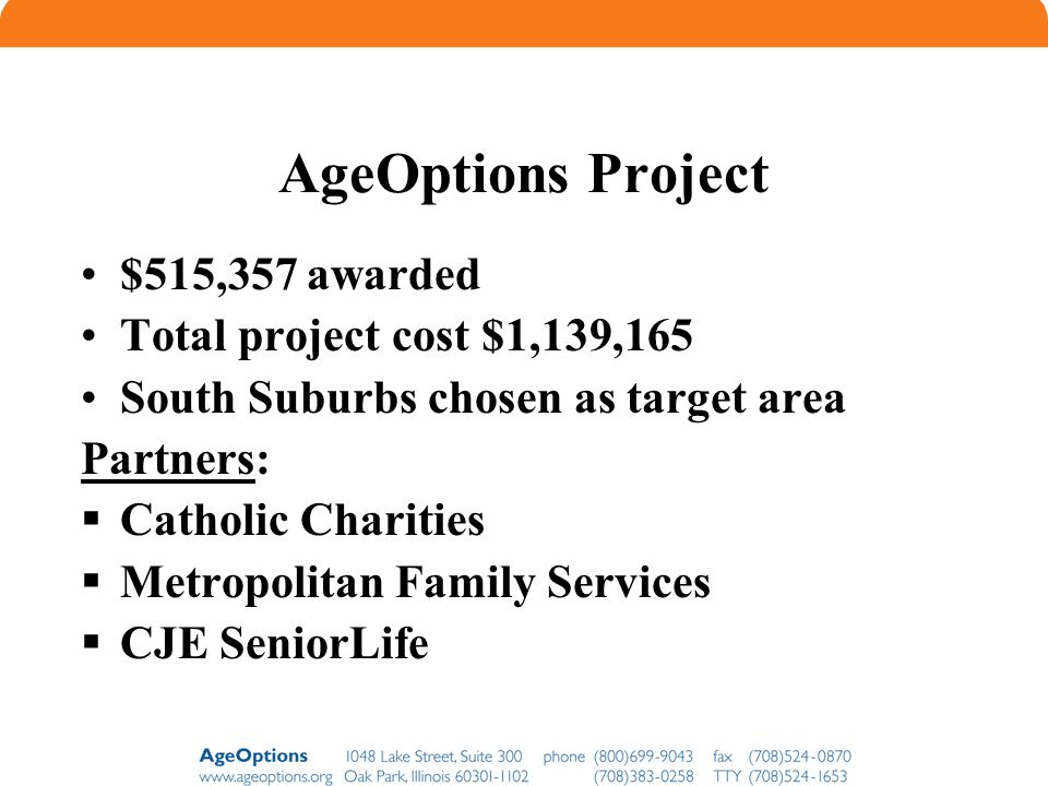 AgeOptions Project $515,357 awarded Total project cost $1,139,165