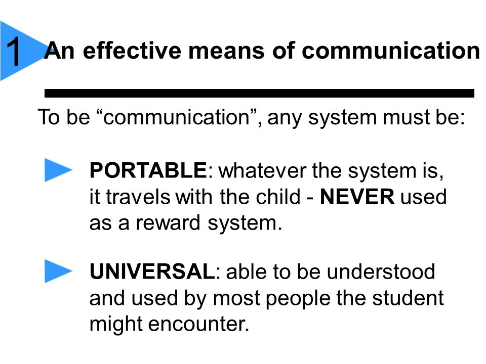 1 An effective means of communication