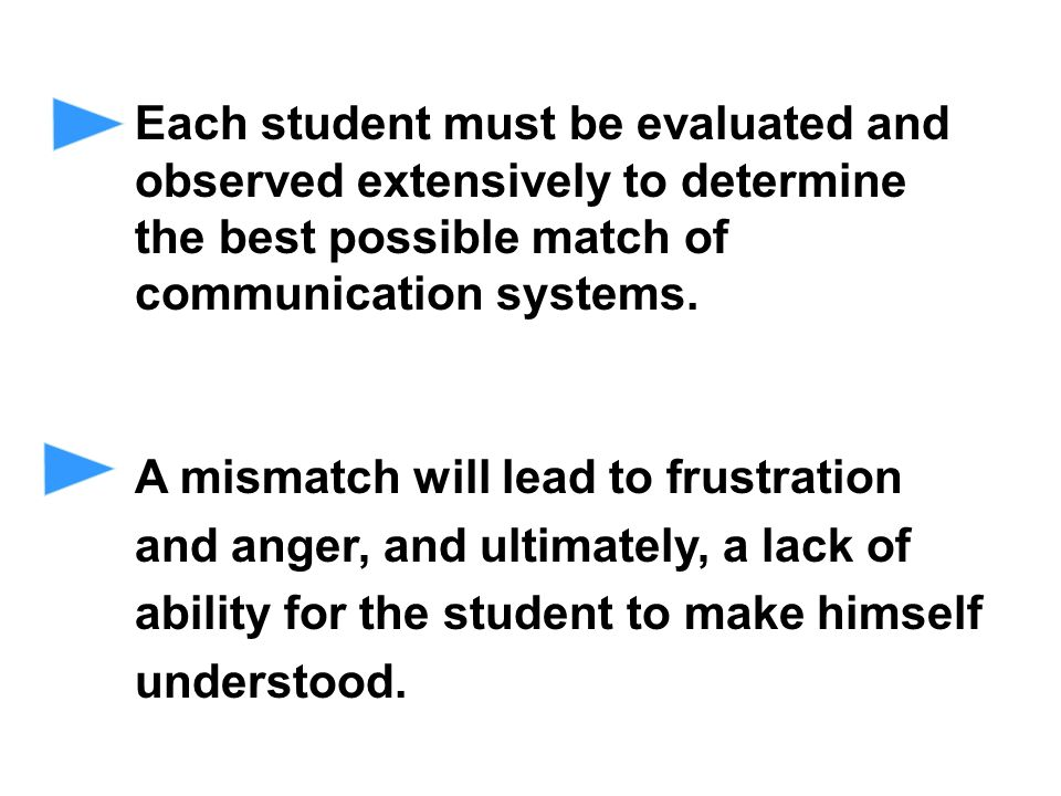 Each student must be evaluated and observed extensively to determine the best possible match of communication systems.