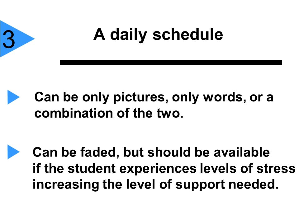 3 A daily schedule. Can be only pictures, only words, or a combination of the two. Can be faded, but should be available.