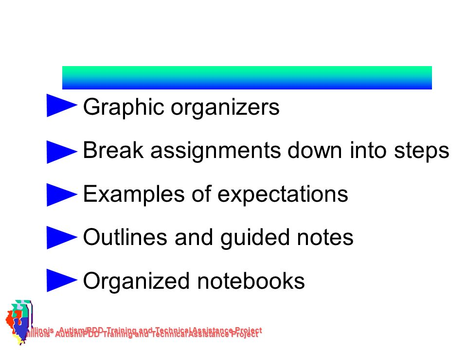 Break assignments down into steps Examples of expectations