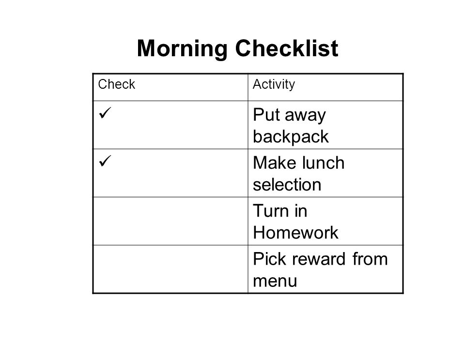Morning Checklist  Put away backpack Make lunch selection