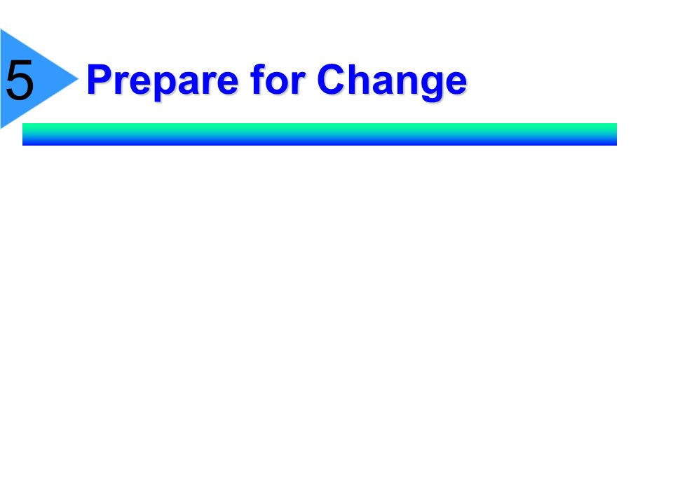 5 Prepare for Change. Whenever possible, explain changes well in advance, put in writing.