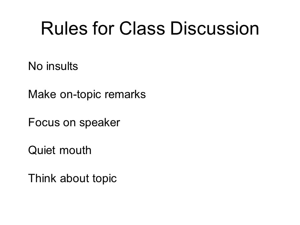 Rules for Class Discussion