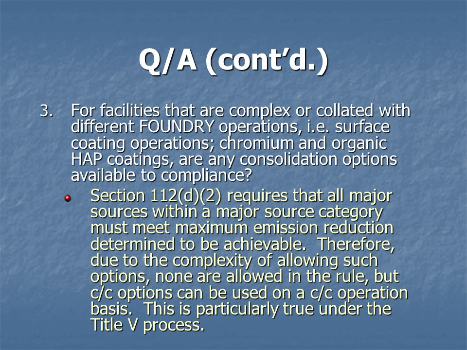 Q/A (cont'd.)