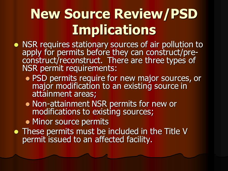 New Source Review/PSD Implications