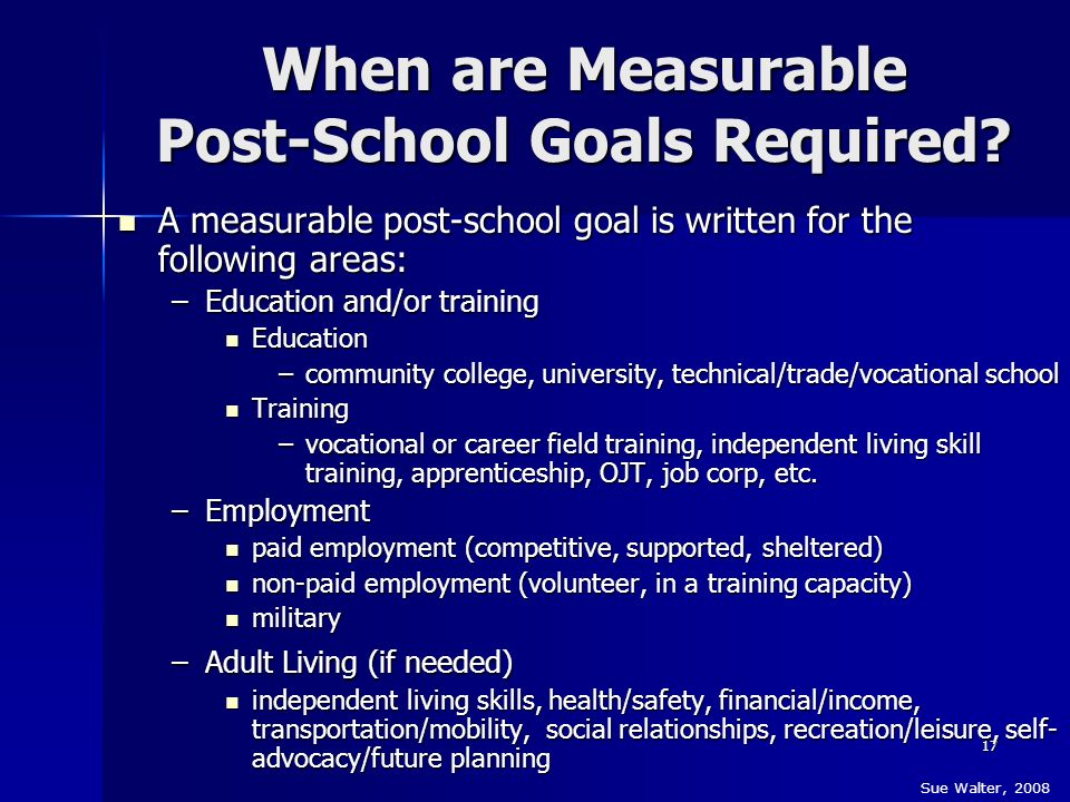 When are Measurable Post-School Goals Required