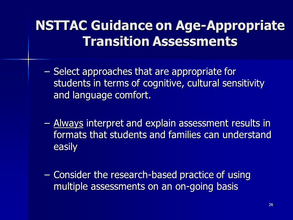 NSTTAC Guidance on Age-Appropriate Transition Assessments