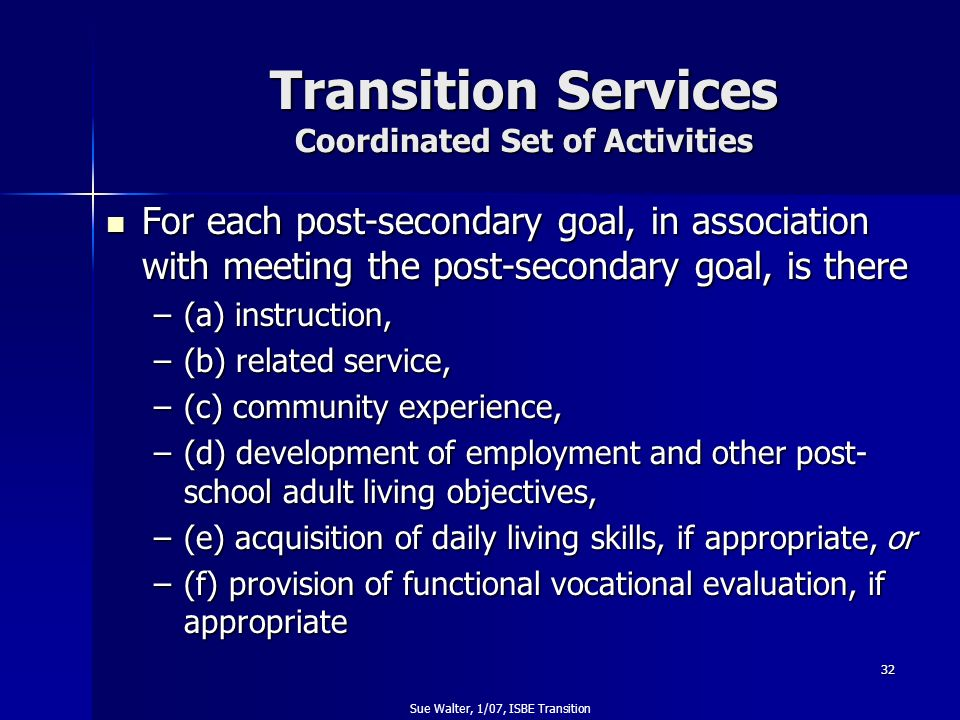 Transition Services Coordinated Set of Activities
