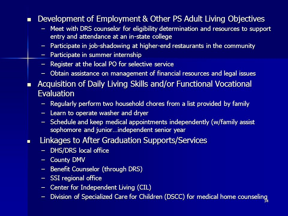 Development of Employment & Other PS Adult Living Objectives