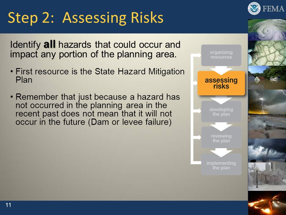 Step 2: Assessing Risks Identify all hazards that could occur and impact any portion of the planning area.