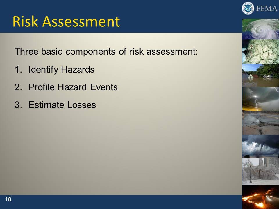 Risk Assessment Three basic components of risk assessment: