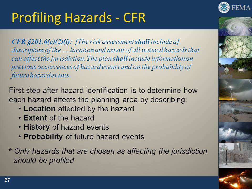 Profiling Hazards - CFR