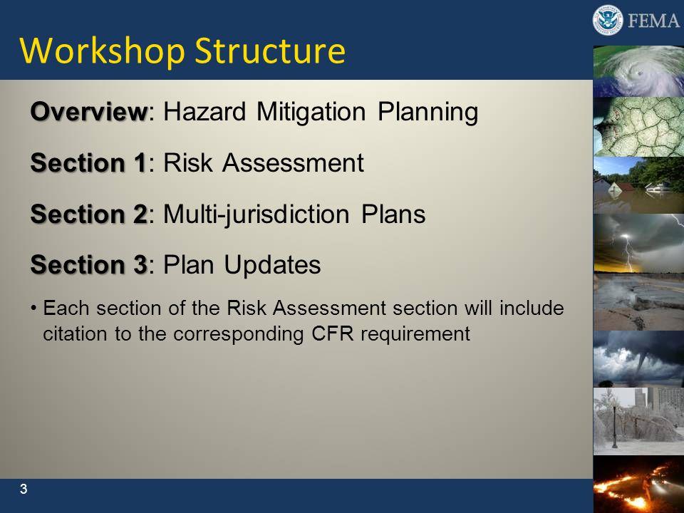 Workshop Structure Overview: Hazard Mitigation Planning
