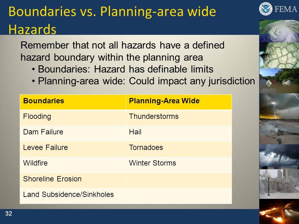 Boundaries vs. Planning-area wide Hazards