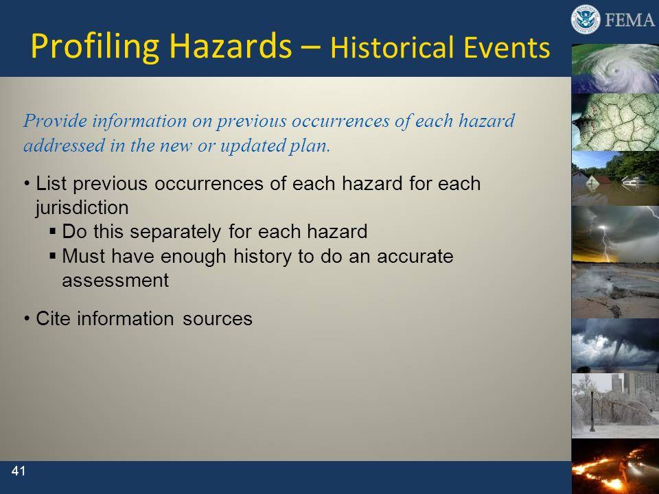 Profiling Hazards – Historical Events