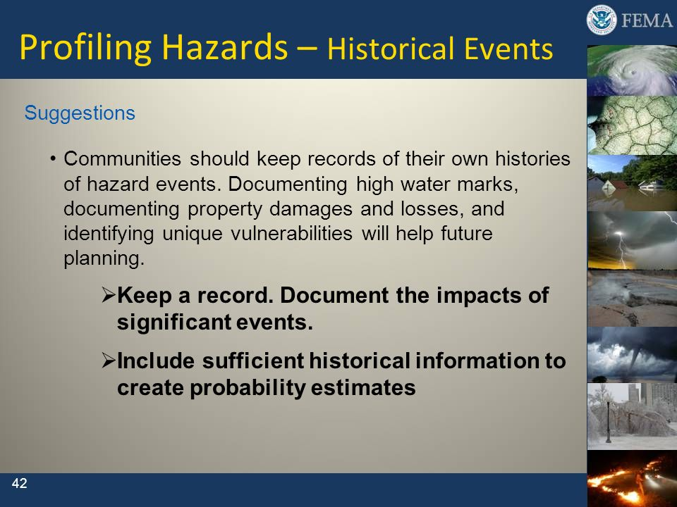 Profiling Hazards – Historical Events