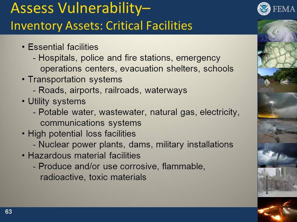 Assess Vulnerability– Inventory Assets: Critical Facilities