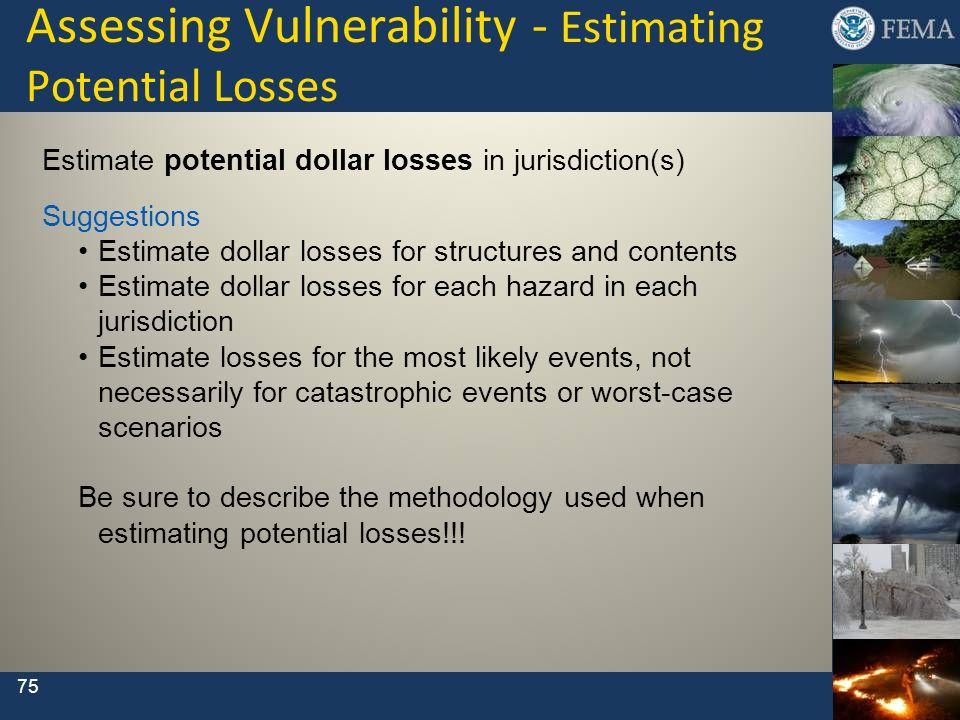 Assessing Vulnerability - Estimating Potential Losses