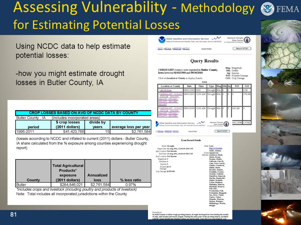 Assessing Vulnerability - Methodology for Estimating Potential Losses