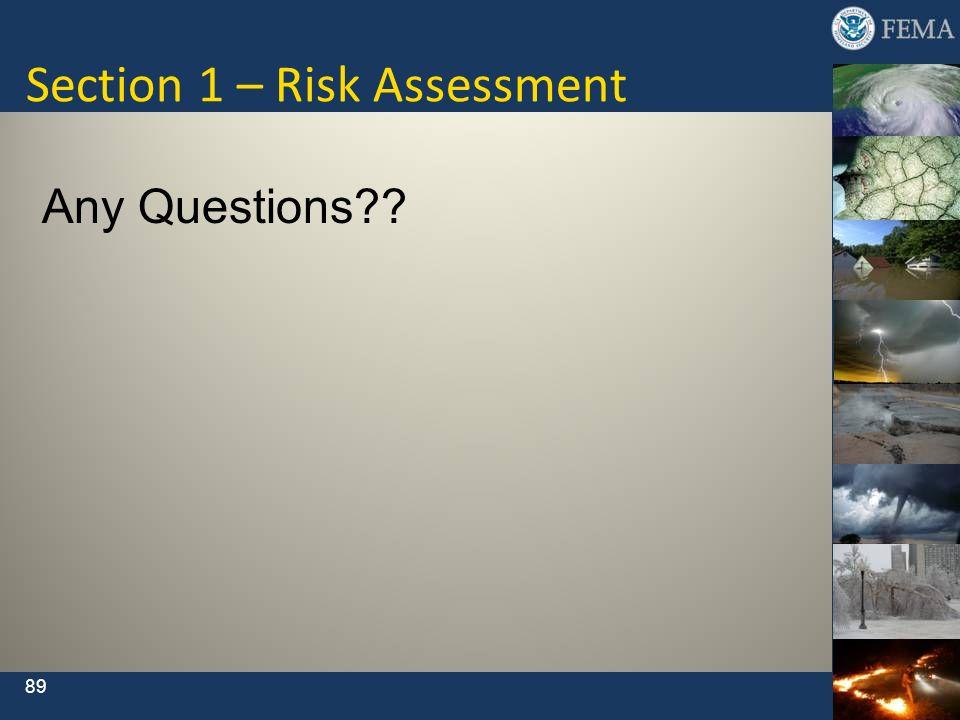 Section 1 – Risk Assessment