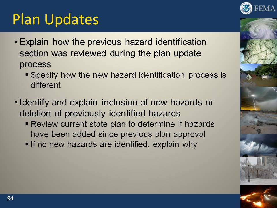 Plan UpdatesExplain how the previous hazard identification section was reviewed during the plan update process.