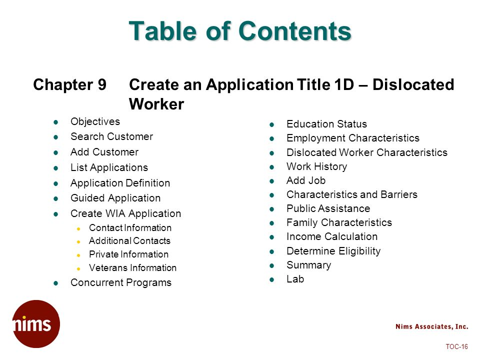 Table of Contents Chapter 9 Create an Application Title 1D – Dislocated Worker. Objectives. Search Customer.