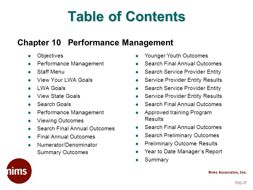 Table of Contents Chapter 10 Performance Management Objectives