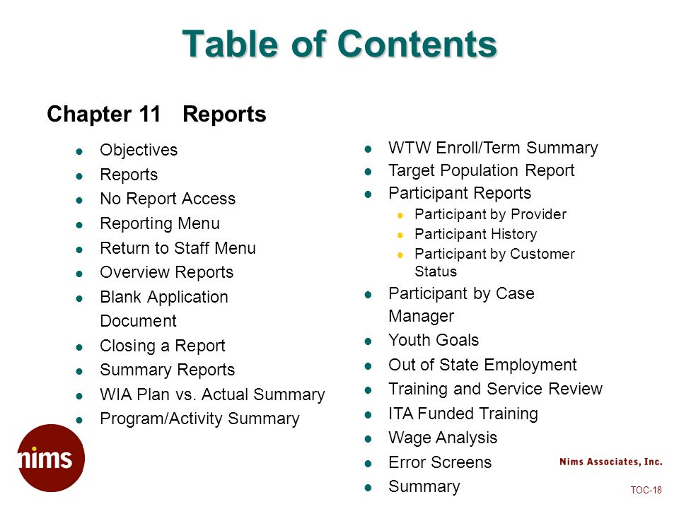 Table of Contents Chapter 11 Reports Objectives Reports