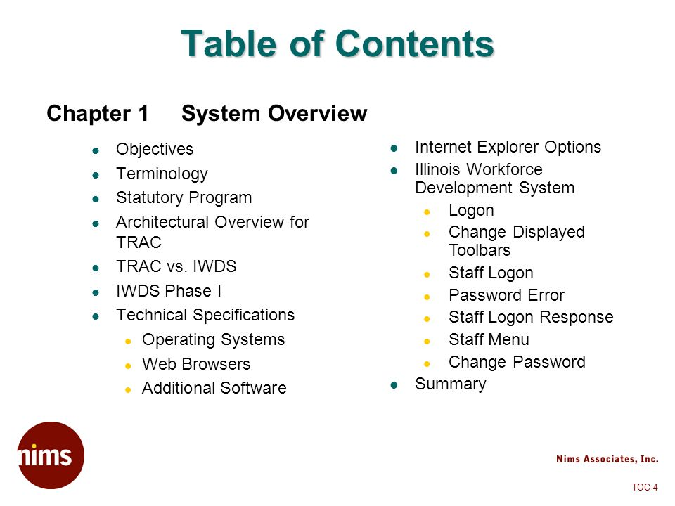 Table of Contents Chapter 1 System Overview Objectives Terminology