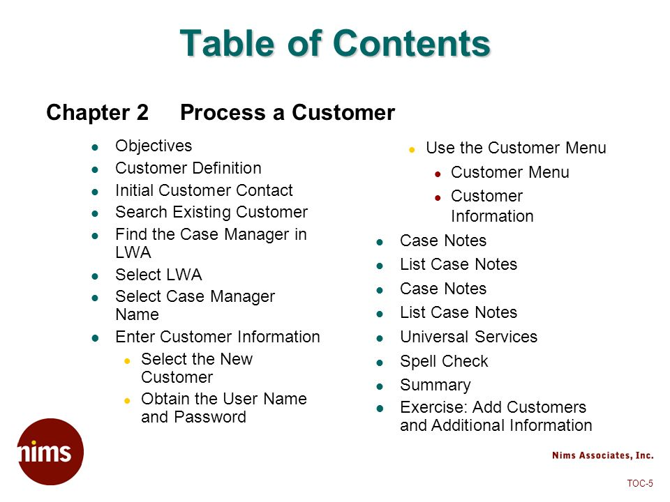 Table of Contents Chapter 2 Process a Customer Objectives