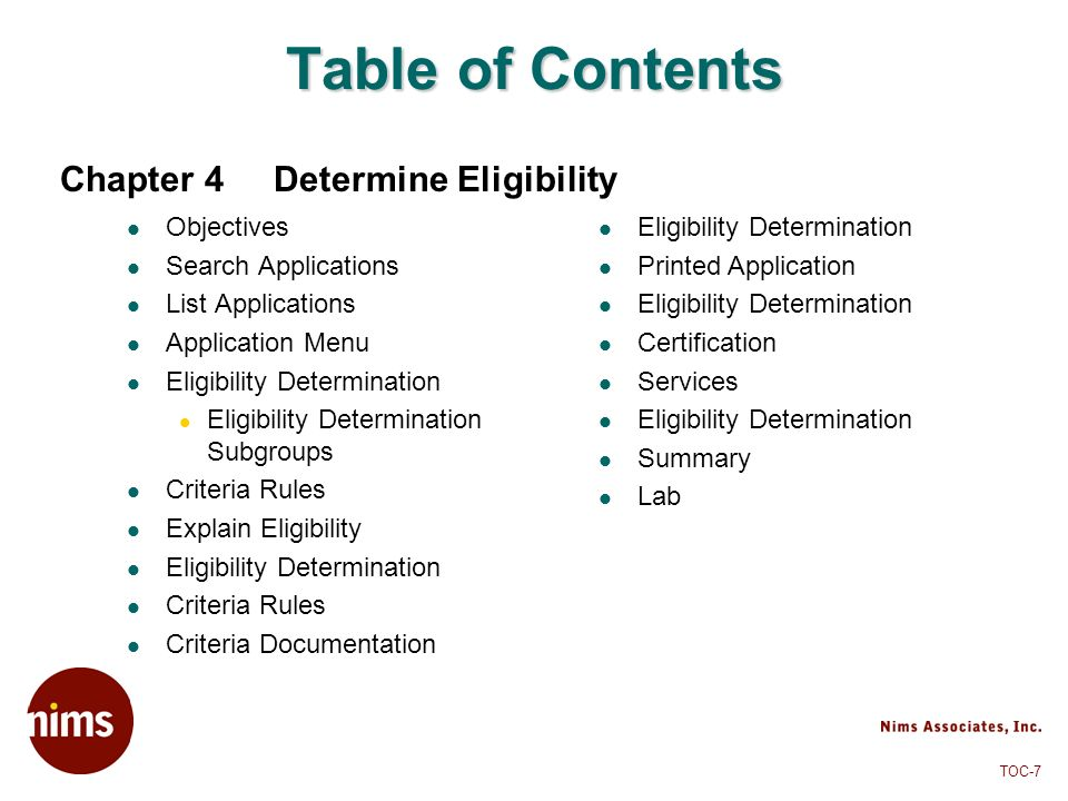 Table of Contents Chapter 4 Determine Eligibility Objectives
