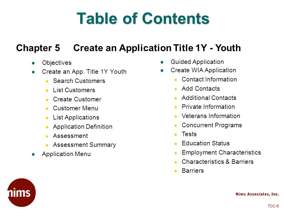 Table of Contents Chapter 5 Create an Application Title 1Y - Youth