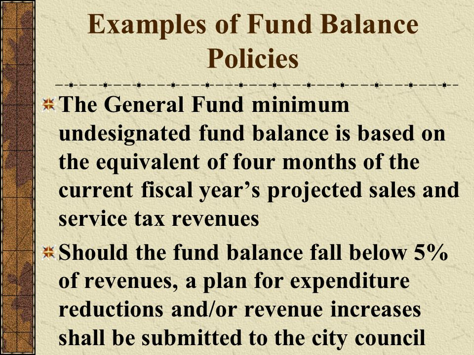 Examples of Fund Balance Policies