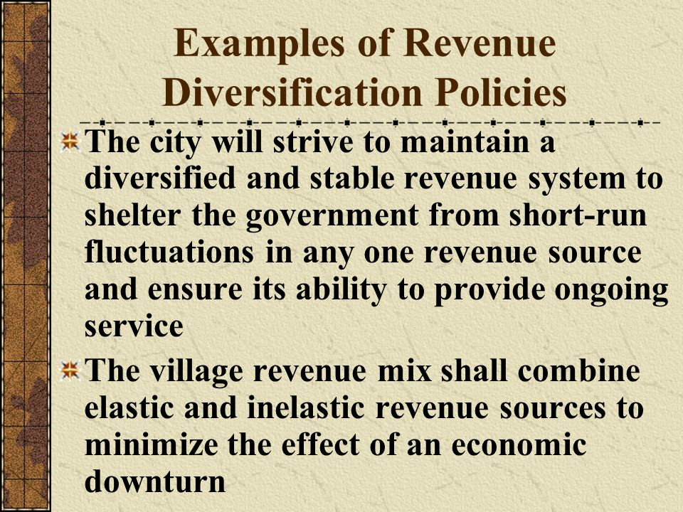 Examples of Revenue Diversification Policies