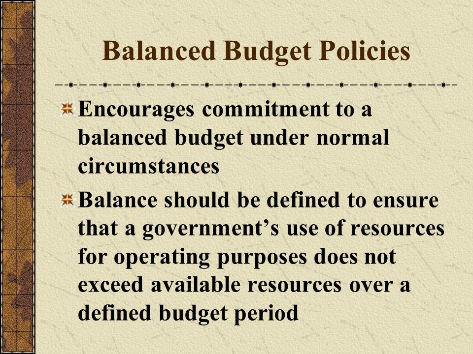 Balanced Budget Policies
