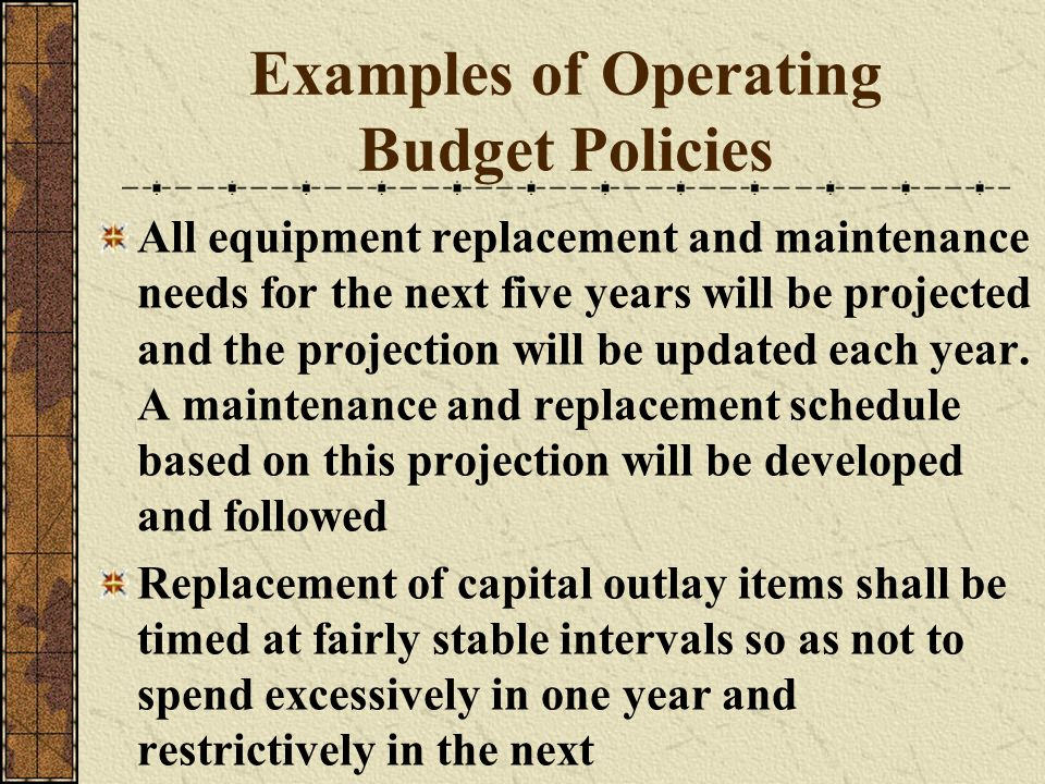 Examples of Operating Budget Policies